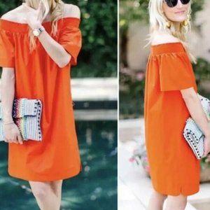J. Crew Women Off The Shoulder Dress Cotton Orange